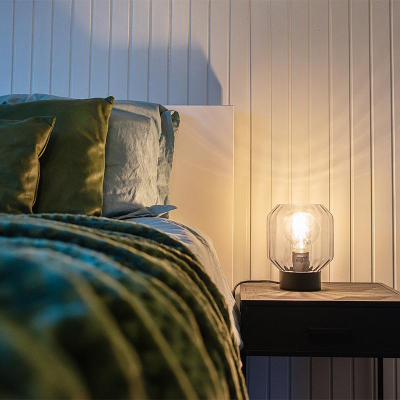 Moderne tafellamp zwart met smoke glas - Stiklo