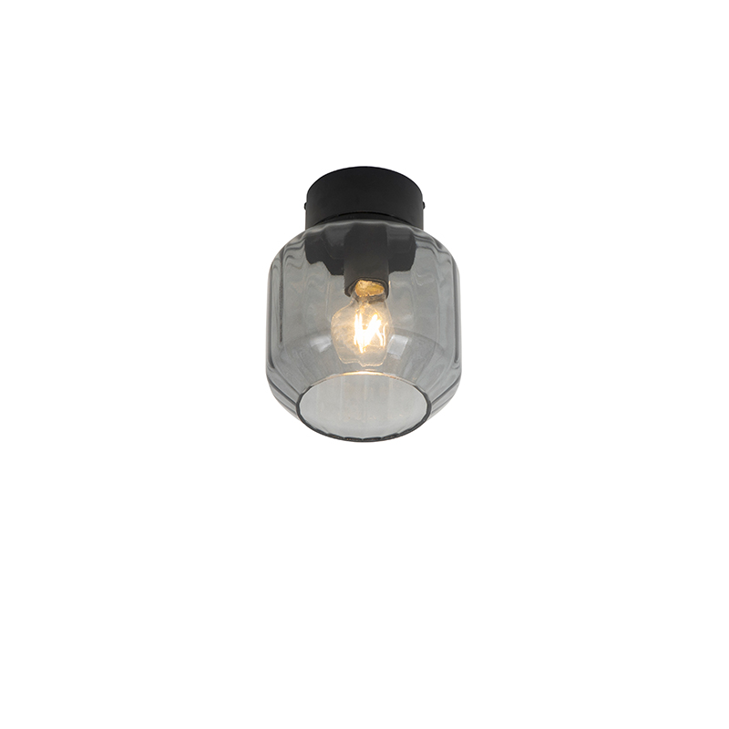 Klassieke plafondlamp zwart met smoke glas - Stiklo