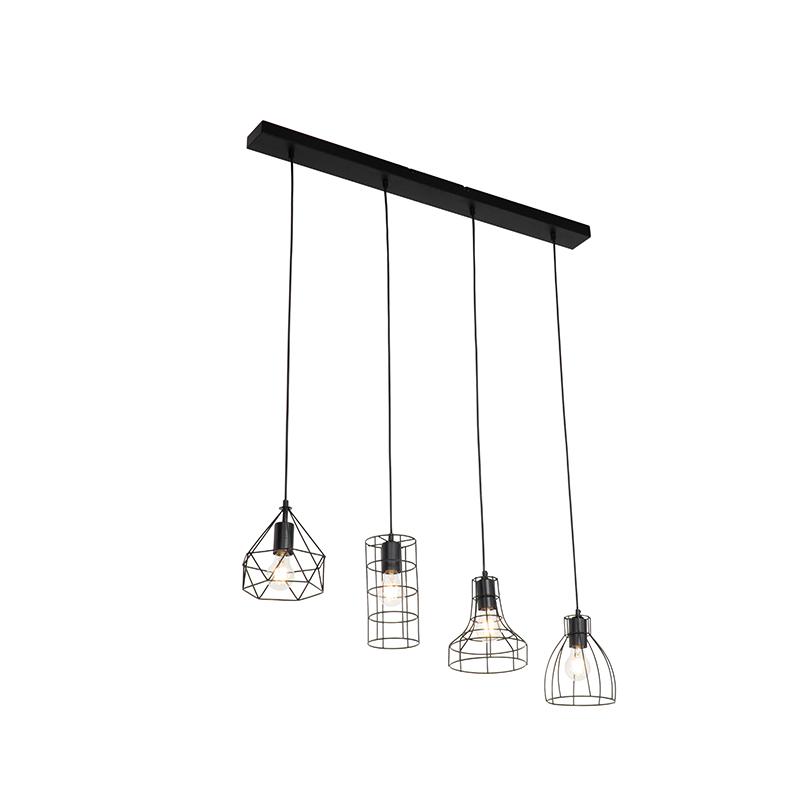 Industriële hanglamp zwart 4-lichts - Esva