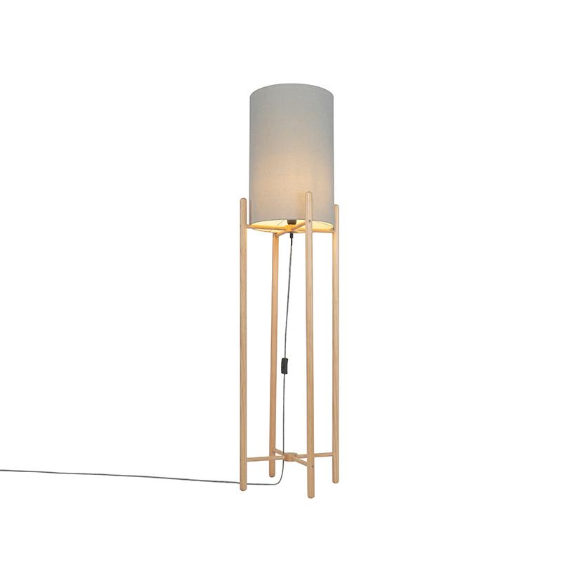 Landelijke vloerlamp hout met grijze kap - Lengi