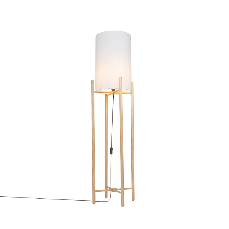 Landelijke vloerlamp hout met witte kap - Lengi