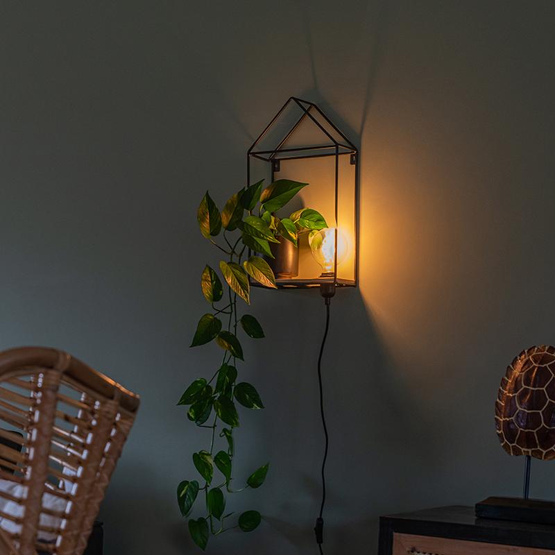 Industriële wandlamp zwart met hout - Hiso