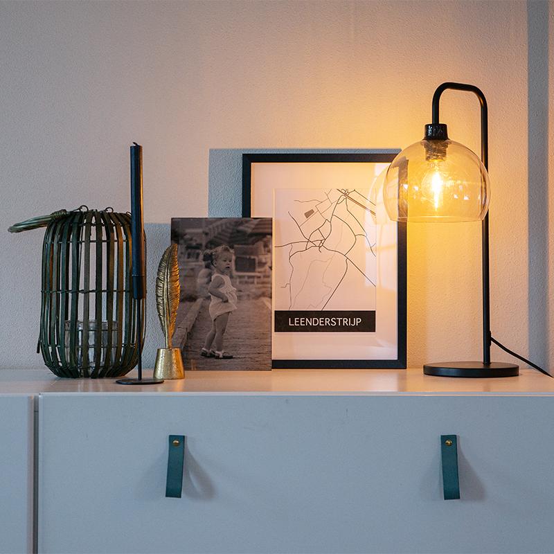 Moderne tafellamp zwart met smoke glas - Maly