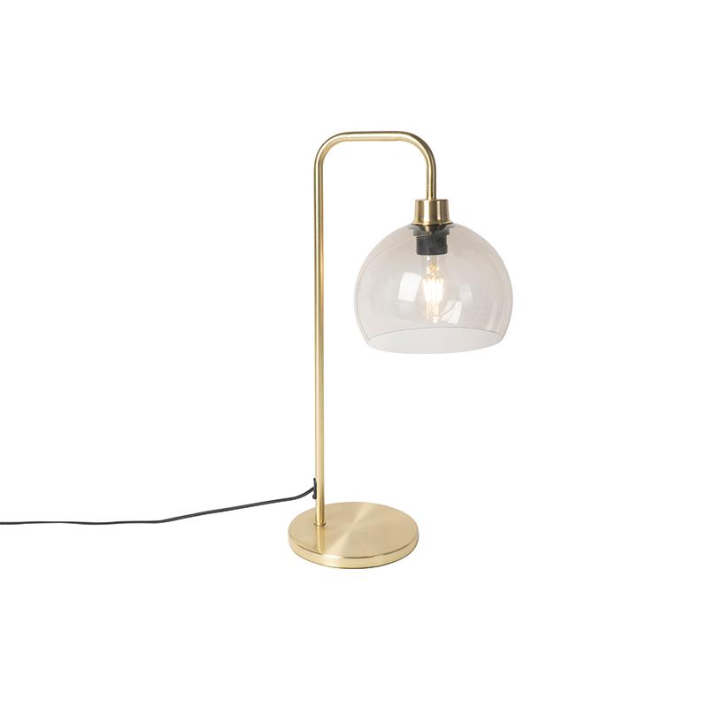 Moderne tafellamp messing met smoke glas - Maly
