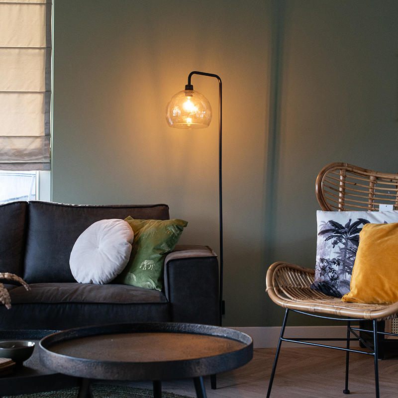 Moderne vloerlamp zwart met smoke glas - Maly