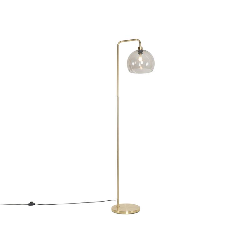 Moderne vloerlamp messing met smoke glas - Maly