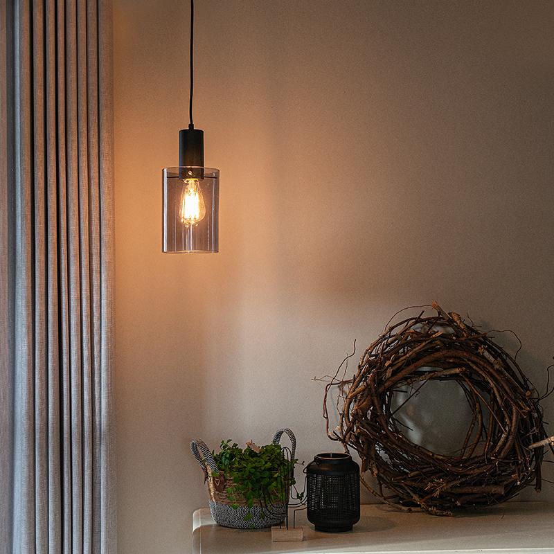 Vintage hanglamp zwart met smoke glas - Vidra