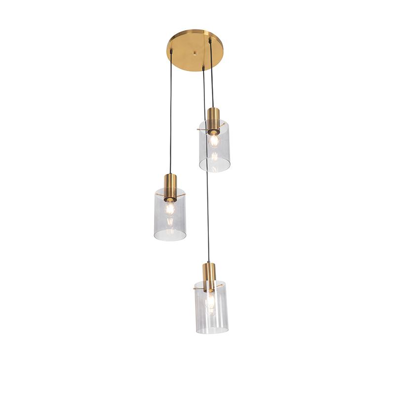 Moderne hanglamp messing met smoke glas 3-lichts - Vidra