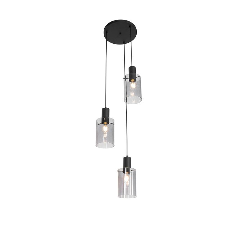 Moderne hanglamp zwart met smoke glas 3-lichts - Vidra