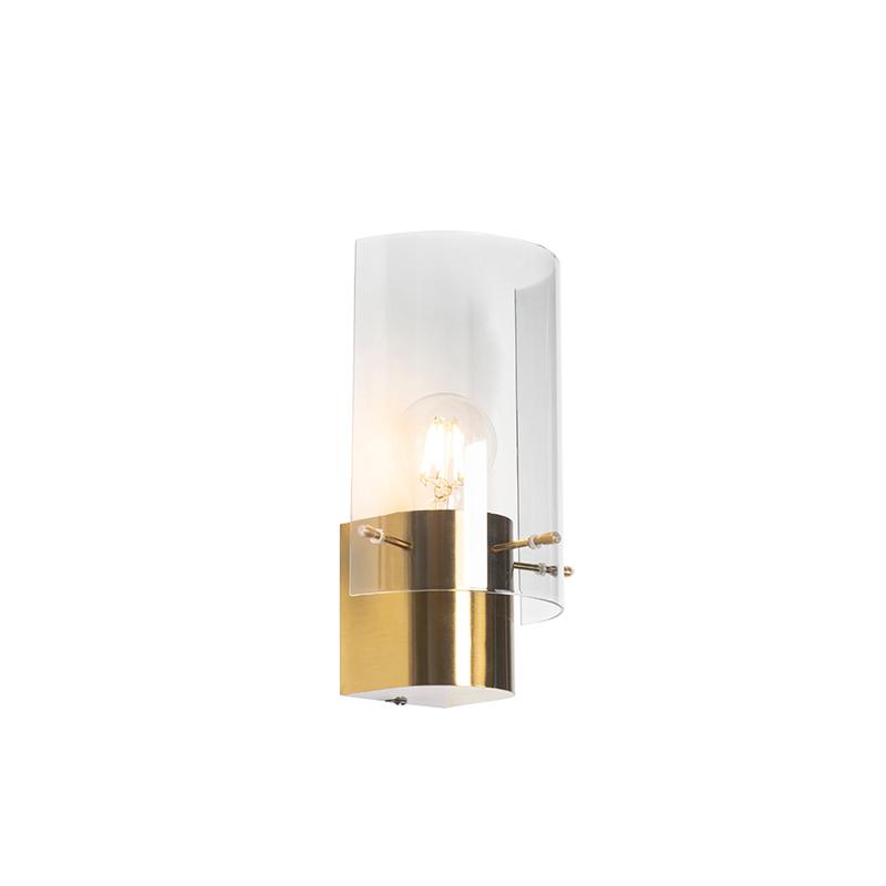 Vintage wandlamp messing met smoke glas - Vidra