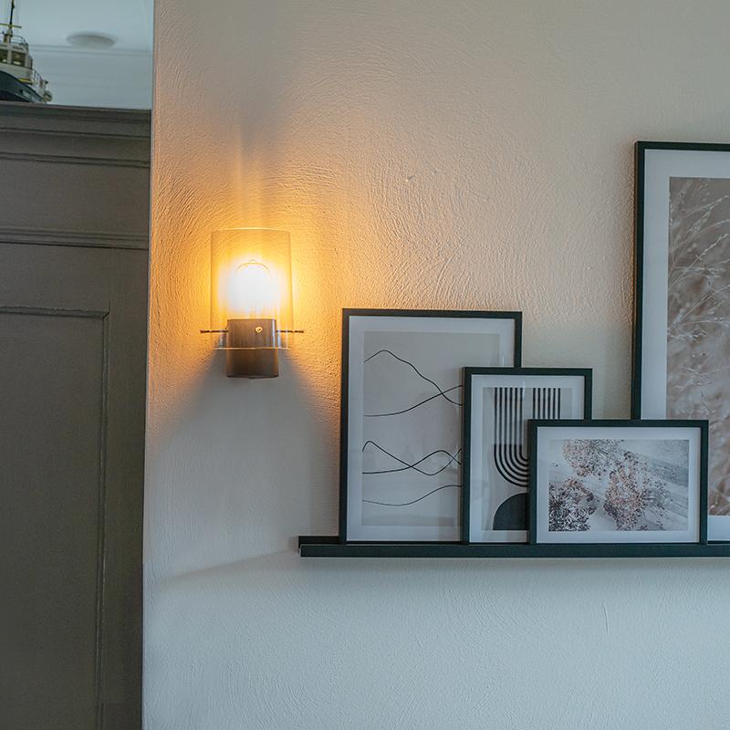 Moderne wandlamp zwart met smoke glas - Vidra