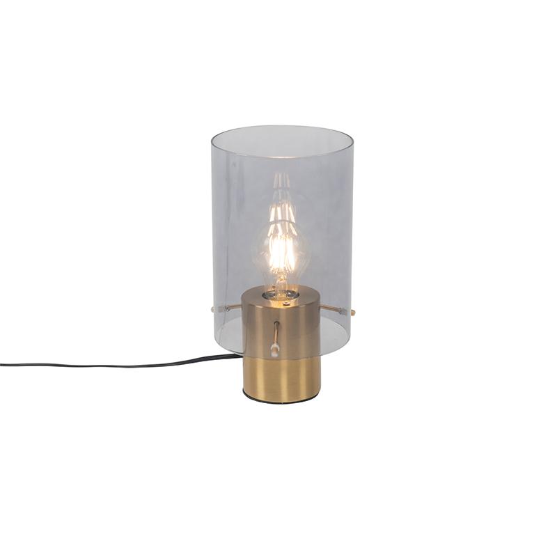 Vintage tafellamp messing met smoke glas - Vidra