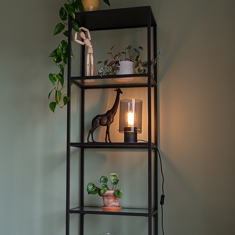 Moderne tafellamp zwart met smoke glas - Vidra