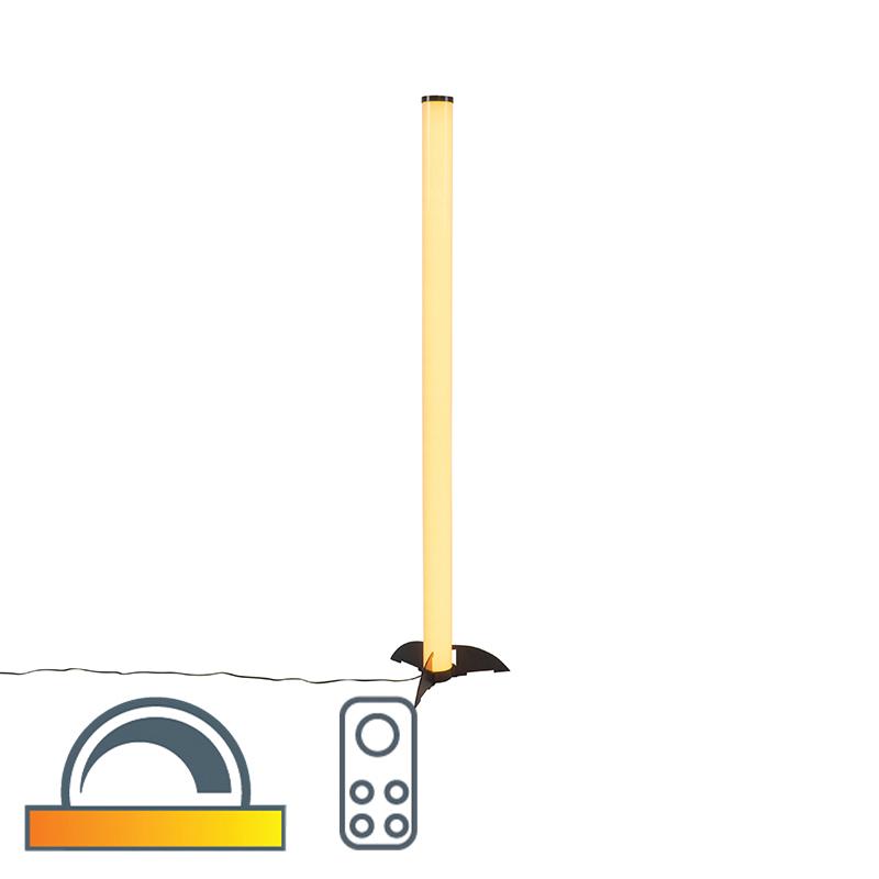 Moderne vloerlamp zwart en opaal dimbaar met afstandsbediening - Bomba