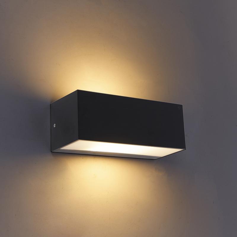 Moderne wandlamp zwart IP65 - Houks