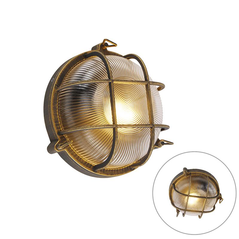 Wand- en plafondlamp goud/messing rond IP44 - Noutica
