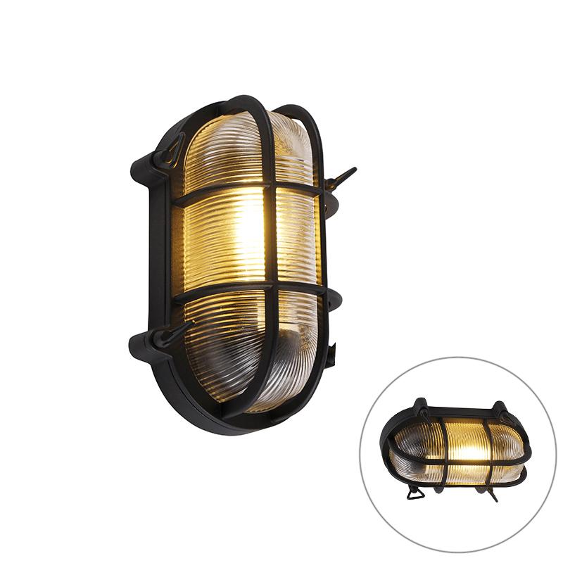 Przemysłowa lampa ścienna i sufitowa czarna owalna IP44 - Noutica