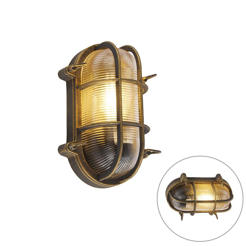 Lampa ścienna i sufitowa złoto / mosiądz owalna IP44 - Noutica