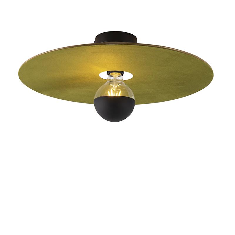 Plafondlamp zwart platte kap groen 45 cm - Combi