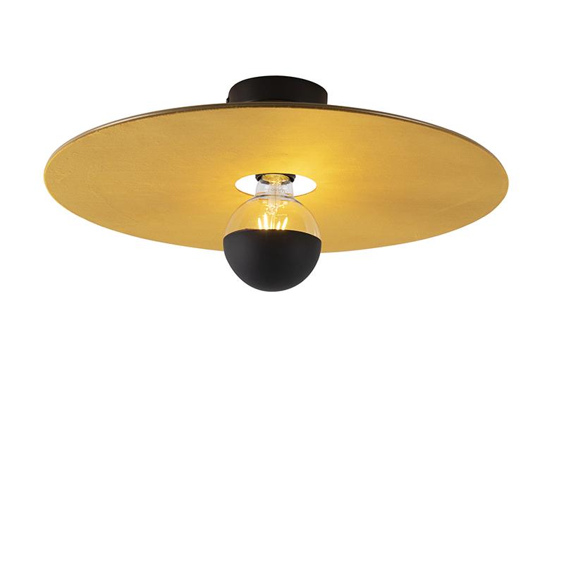 Plafon czarny klosz płaski żółty 45cm - Combi