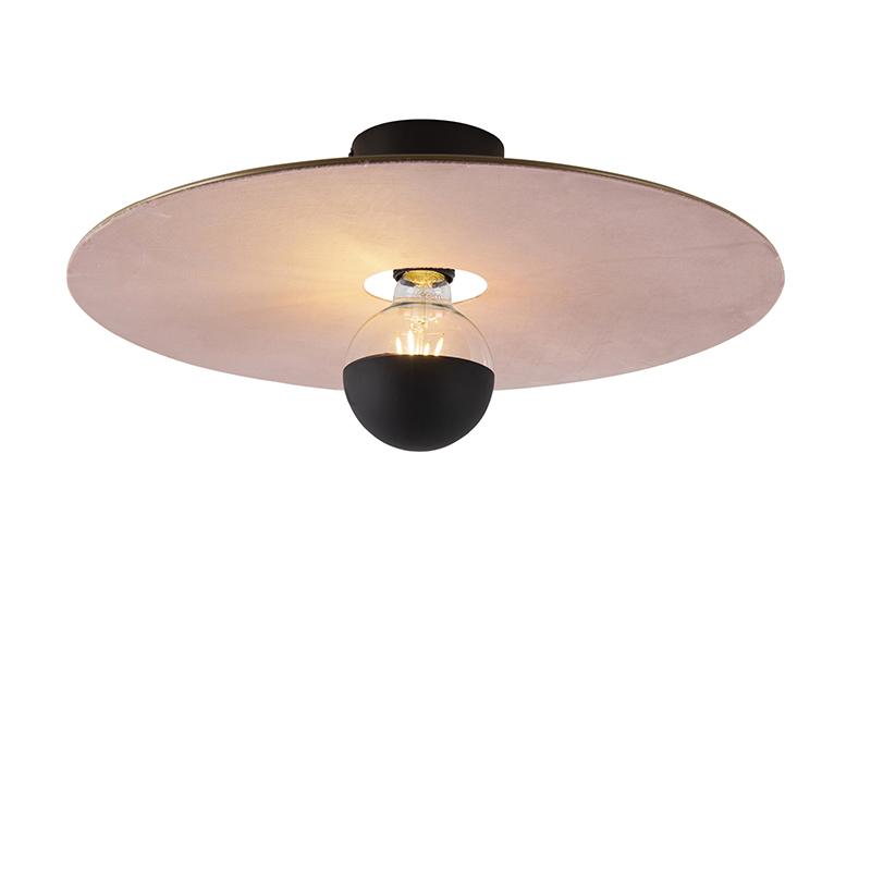 Plafondlamp zwart platte kap roze 45 cm - Combi