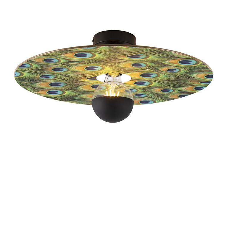 Plafondlamp zwart platte kap pauw dessin 45 cm - Combi