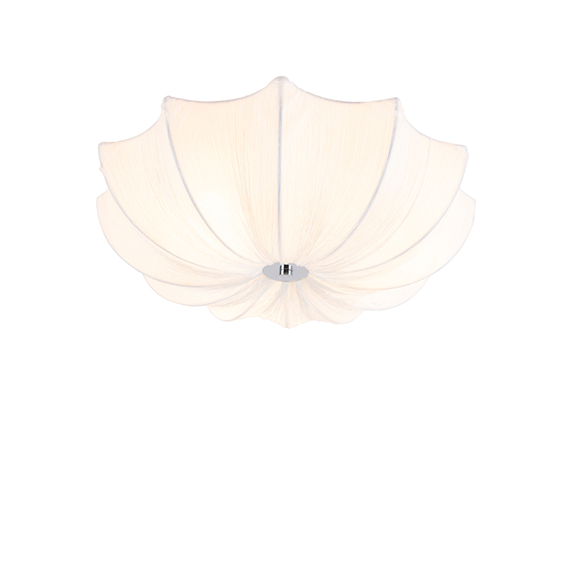 Design loftlampe hvid silke 52 cm - Plu
