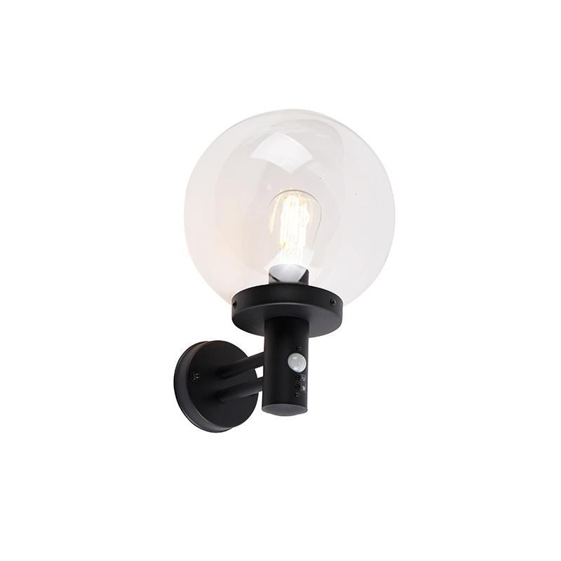 Buiten wandlamp zwart met helder glas incl. bewegingsmelder - Sfera