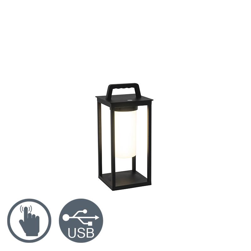 Moderne buitenlamp zwart incl. LED oplaadbaar - Denlu