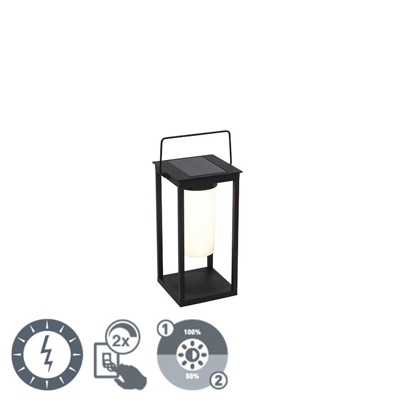 Moderne buitenlamp zwart incl. LED op zonne-energie - Denlu