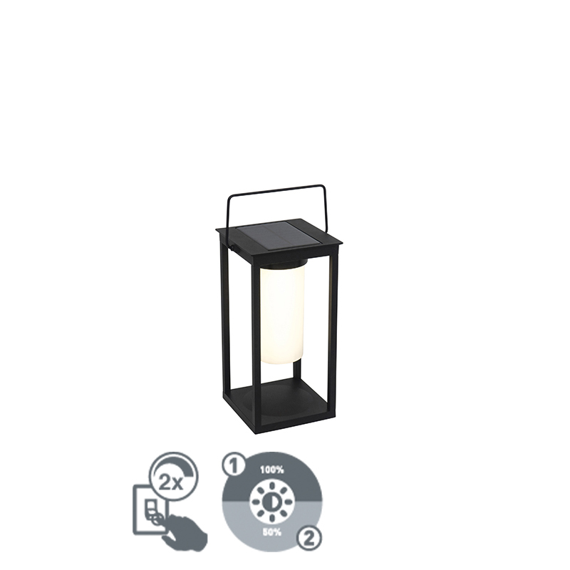 Nowoczesna lampa zewnętrzna czarna z diodą LED i ściemniaczem solarnym - Denlu