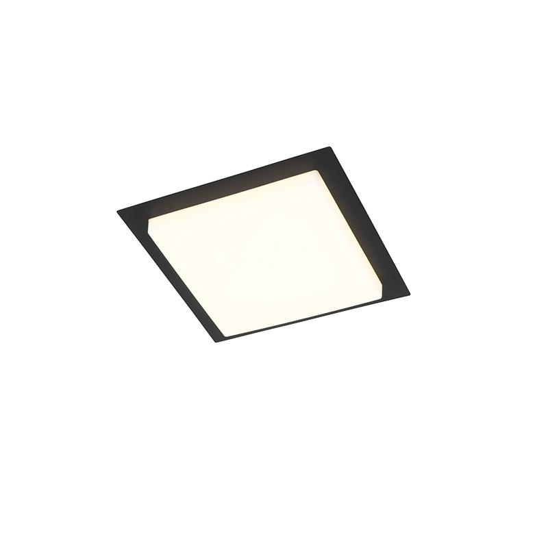 Moderne plafondlamp zwart vierkant incl. LED IP44 - Lys