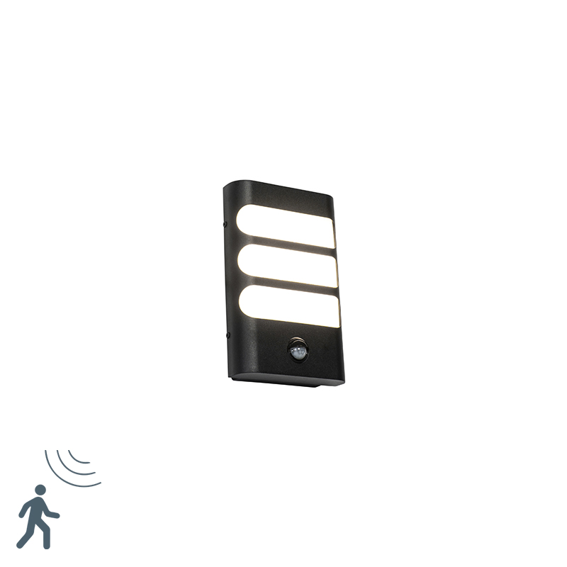 Buitenwandlamp zwart met bewegingssensor incl. LED - Gaev