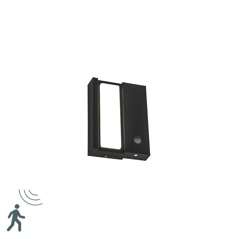 Moderne buiten wandlamp zwart IP44 met beweging sensor op solar - Spiare