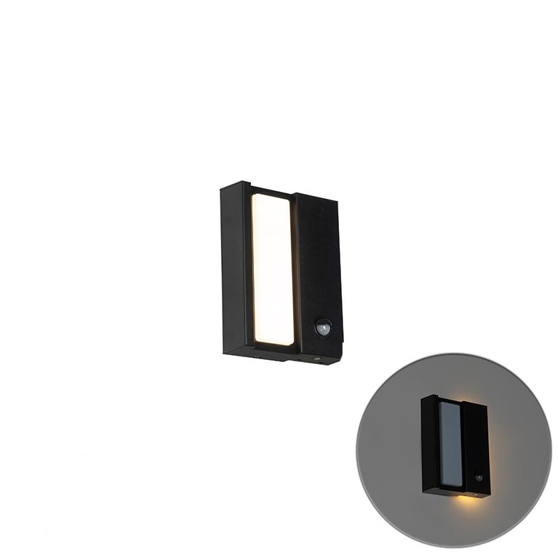 Moderne buiten wandlamp zwart IP44 met beweging sensor - Spiare