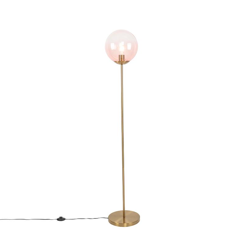 Art deco vloerlamp messing met roze glas - Pallon