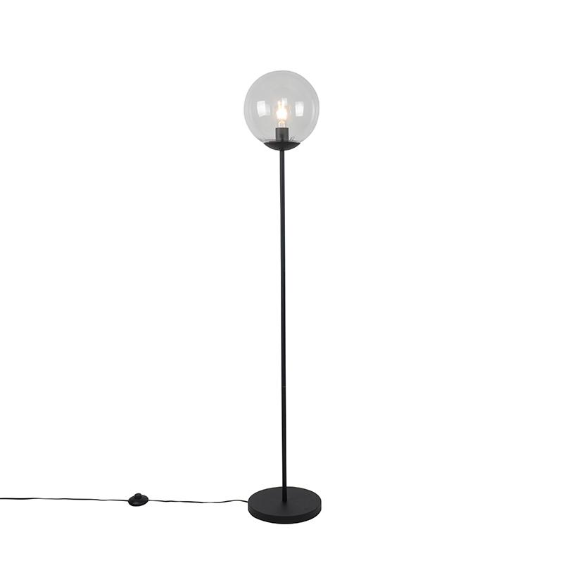 Art deco vloerlamp zwart met helder glas - Pallon