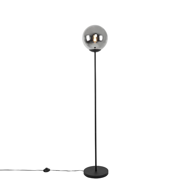 Art Deco vloerlamp zwart met smoke glas - Pallon