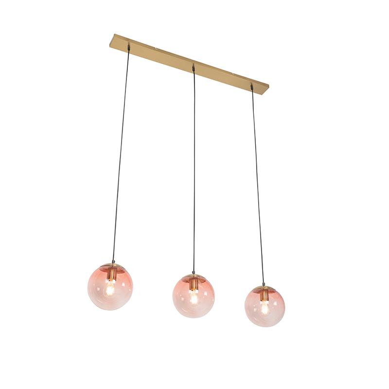 Art Deco hanglamp messing met roze glas 3-lichts - Pallon