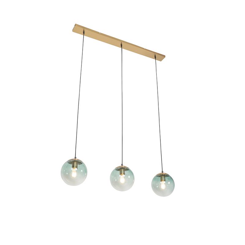 Art deco hanglamp messing met groen glas 3 lichts Pallon