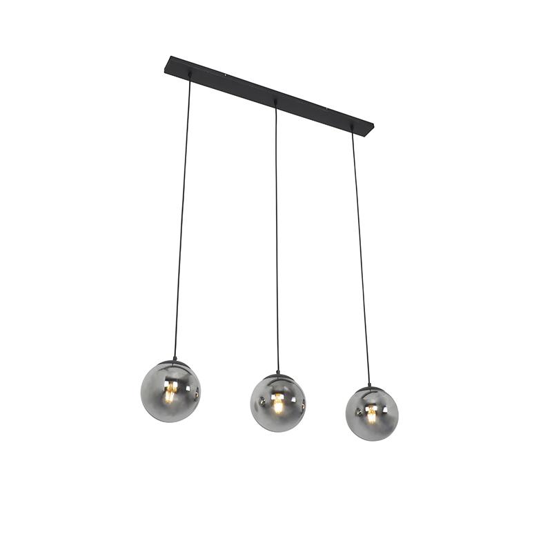 Art deco hanglamp zwart met smoke glas 3 lichts Pallon