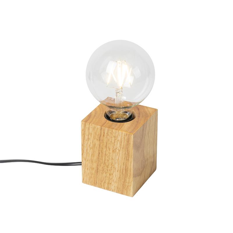 Landelijke tafellamp hout naturel - Bloc