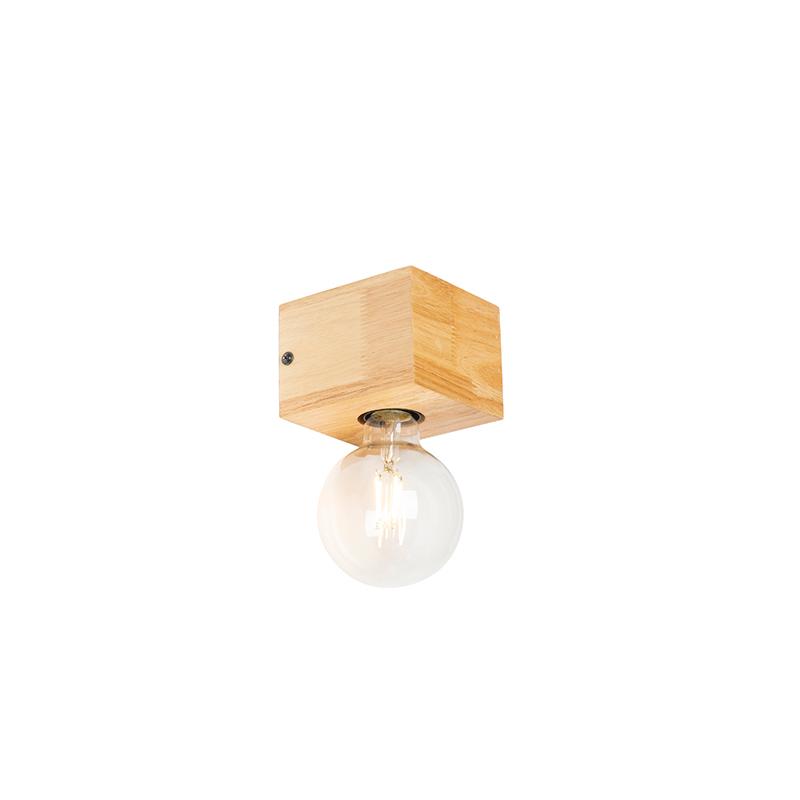 Vidiecka nástenná lampa drevo prírodná - blok