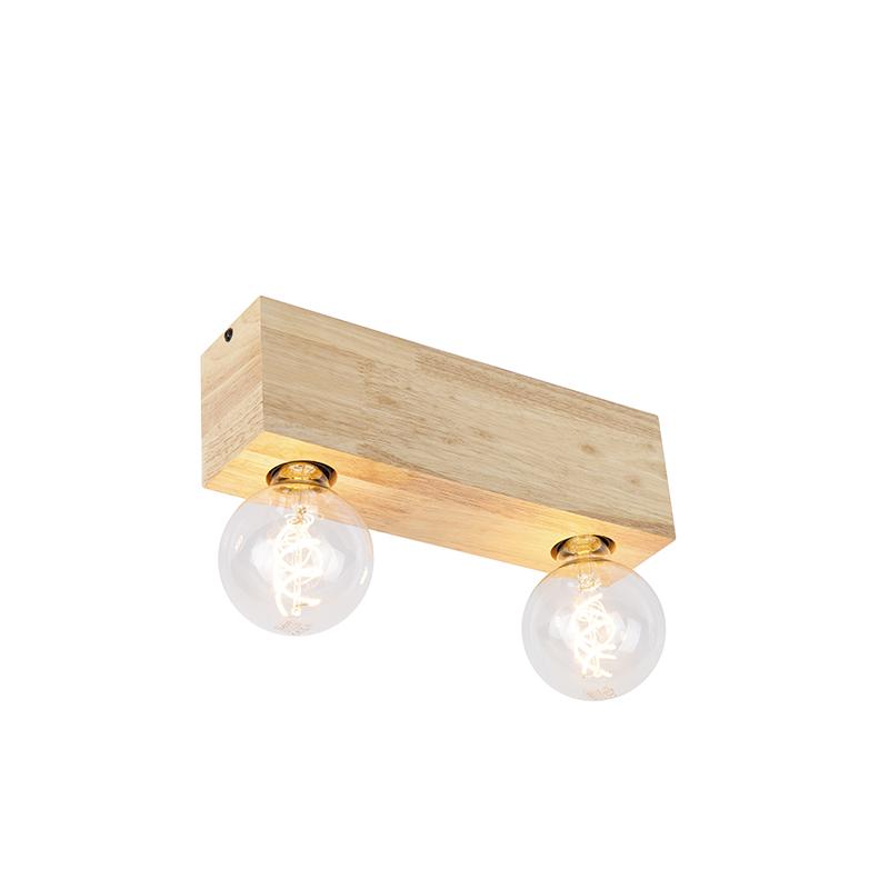 Vidiecky stropný bodový svetlomet drevený 2-svetlý - blok