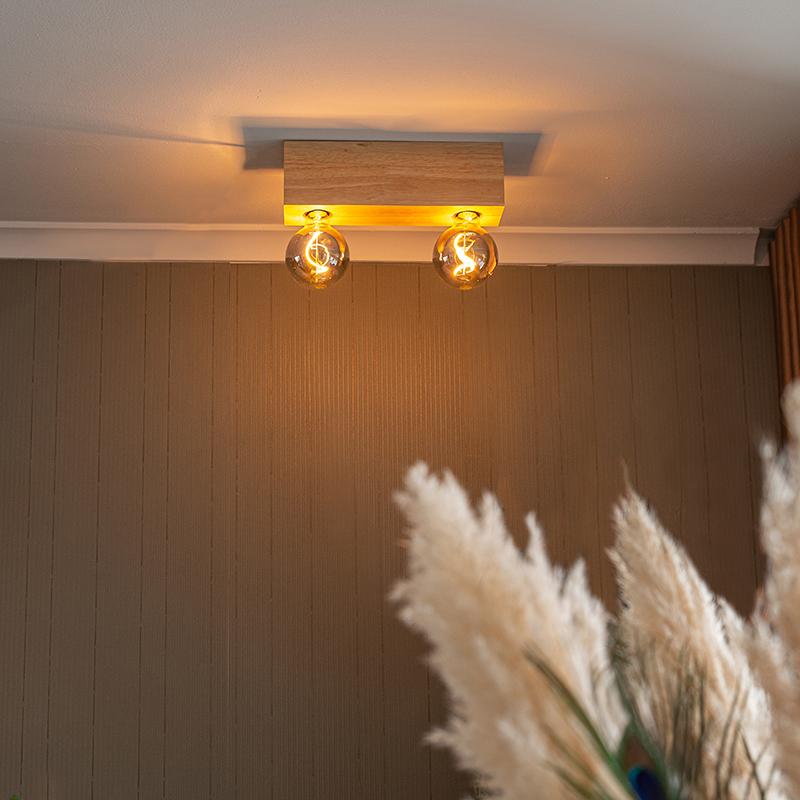 Landelijke plafondspot licht hout 2-lichts - Bloc