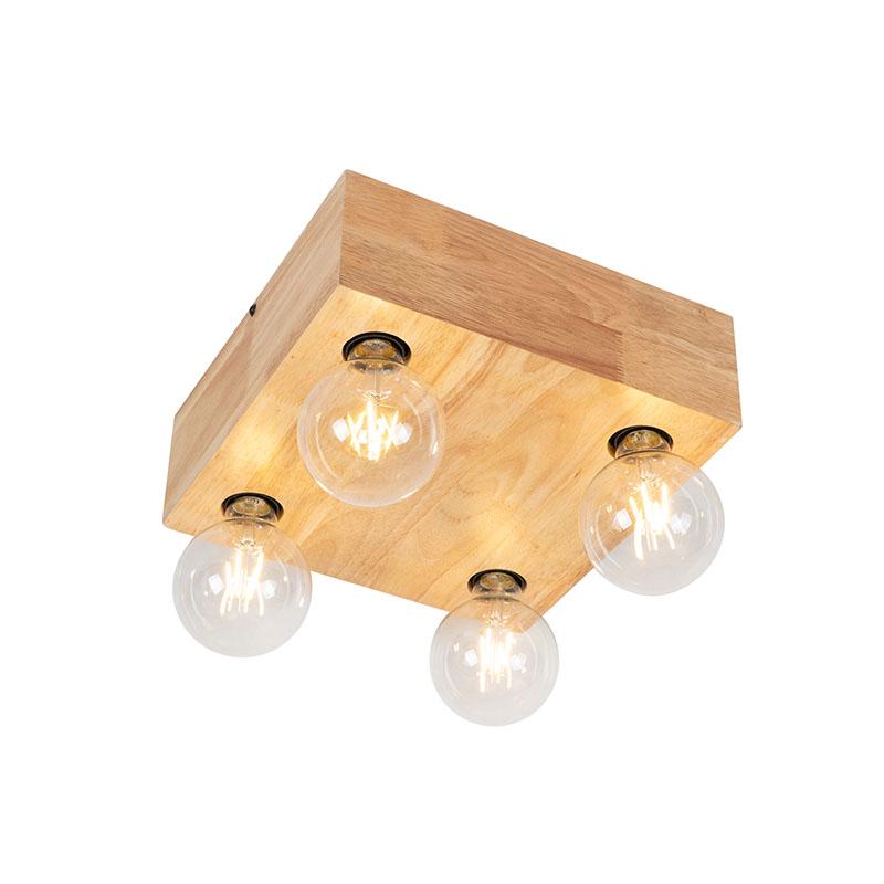 Landelijke plafondlamp natuurlijk hout 4-lichts - Bloc