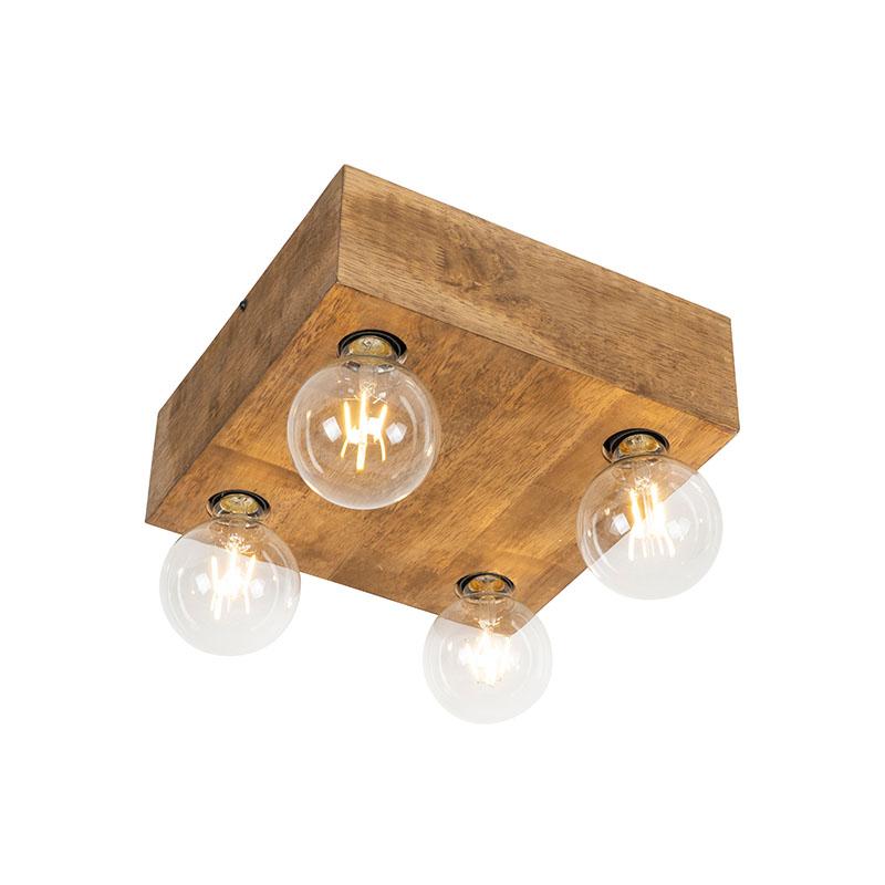 Landelijke plafondlamp donker hout 4-lichts - Bloc