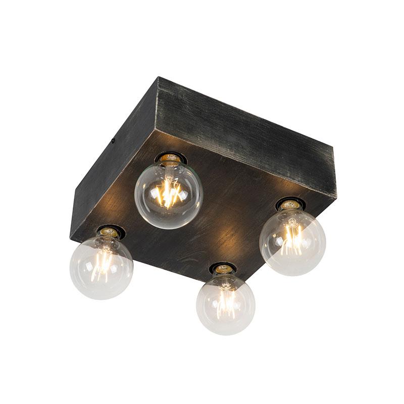 Wiejska lampa sufitowa z czarnego drewna 4-punktowa - Bloc