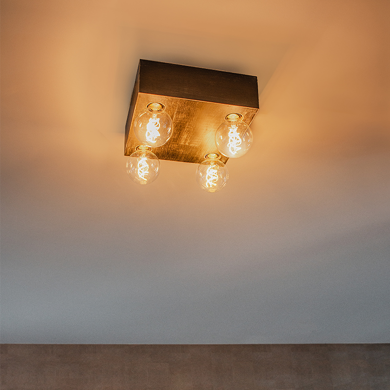 Landelijke plafondlamp zwart hout 4-lichts - Bloc