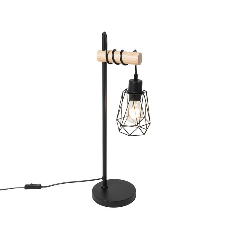 Landelijke tafellamp zwart met hout - Dami Frame